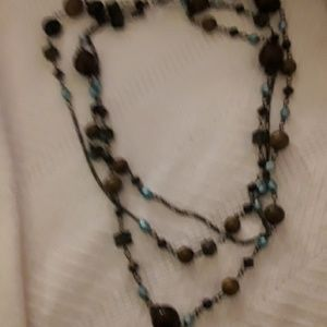 Vintage bronze bead chain multi strand necklace